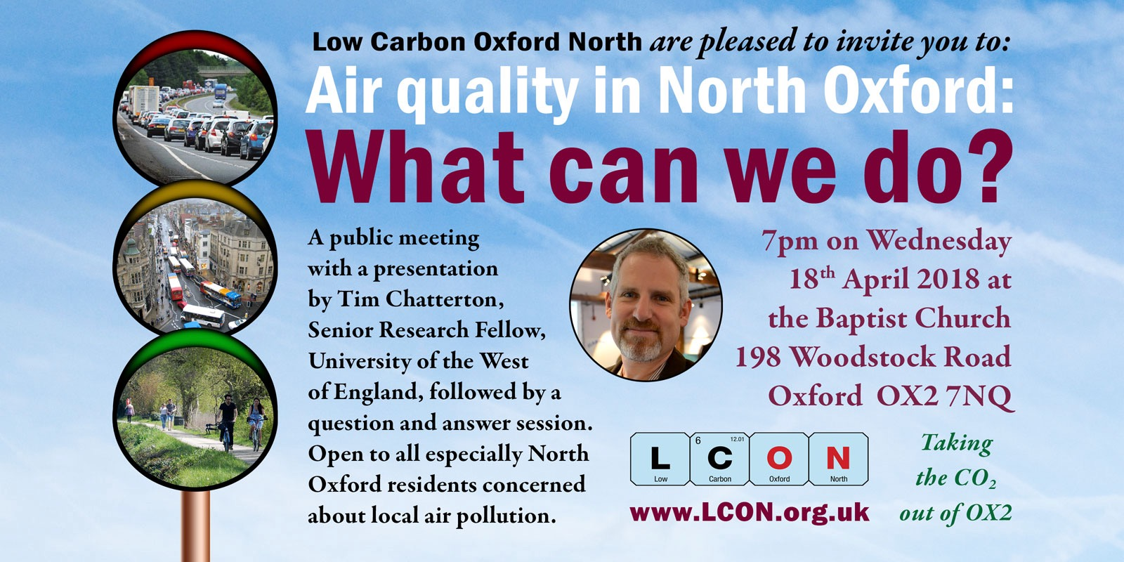Public meeting, 18 April: Air quality in North Oxford – what can we do?